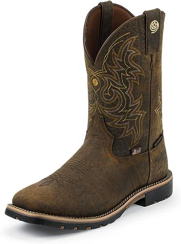 Justin Men's Dark George Strait Waterproof Cowboy Boot