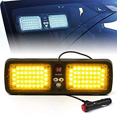 Xprite Yellow Amber 86 LED SunShield Sun Visor Emergency Strobe Lights 12 Flash Modes Hazard Warning Light for Law Enforcement Vehicle: Automotive