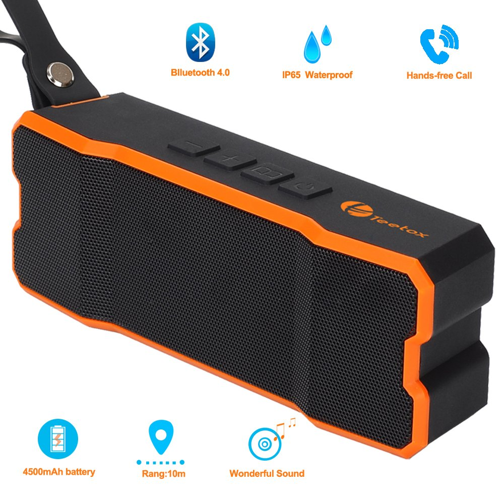Outdoor Portable Speaker,Teetox IP65 Waterproof Bluetooth Speakers 4.1 with 12-Hour Playtime, Deep Bass and Loud Stereo Sound,Black and Orange 4330365412