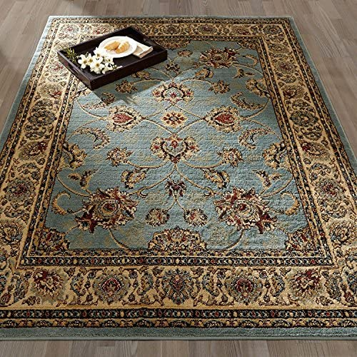 Sweethome King Collection Mahal Blue Teal Oriental Design 7'10″x9'10″ Area Rugs Clearance
