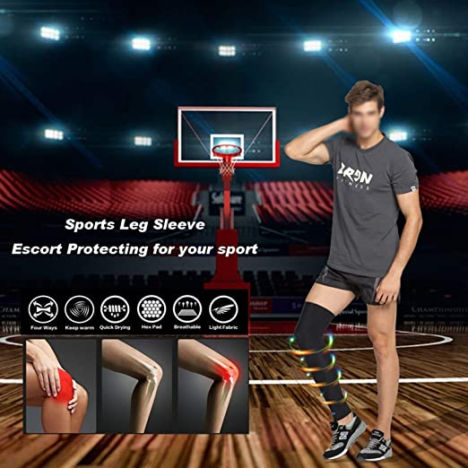 0df242939d476f Amazon.com: 1Pcs Leg Sleeve Women Men Youth Basketball - Sports Footless  Calf Compression Socks Knee Brace Helps Muscles: Health & Personal Care