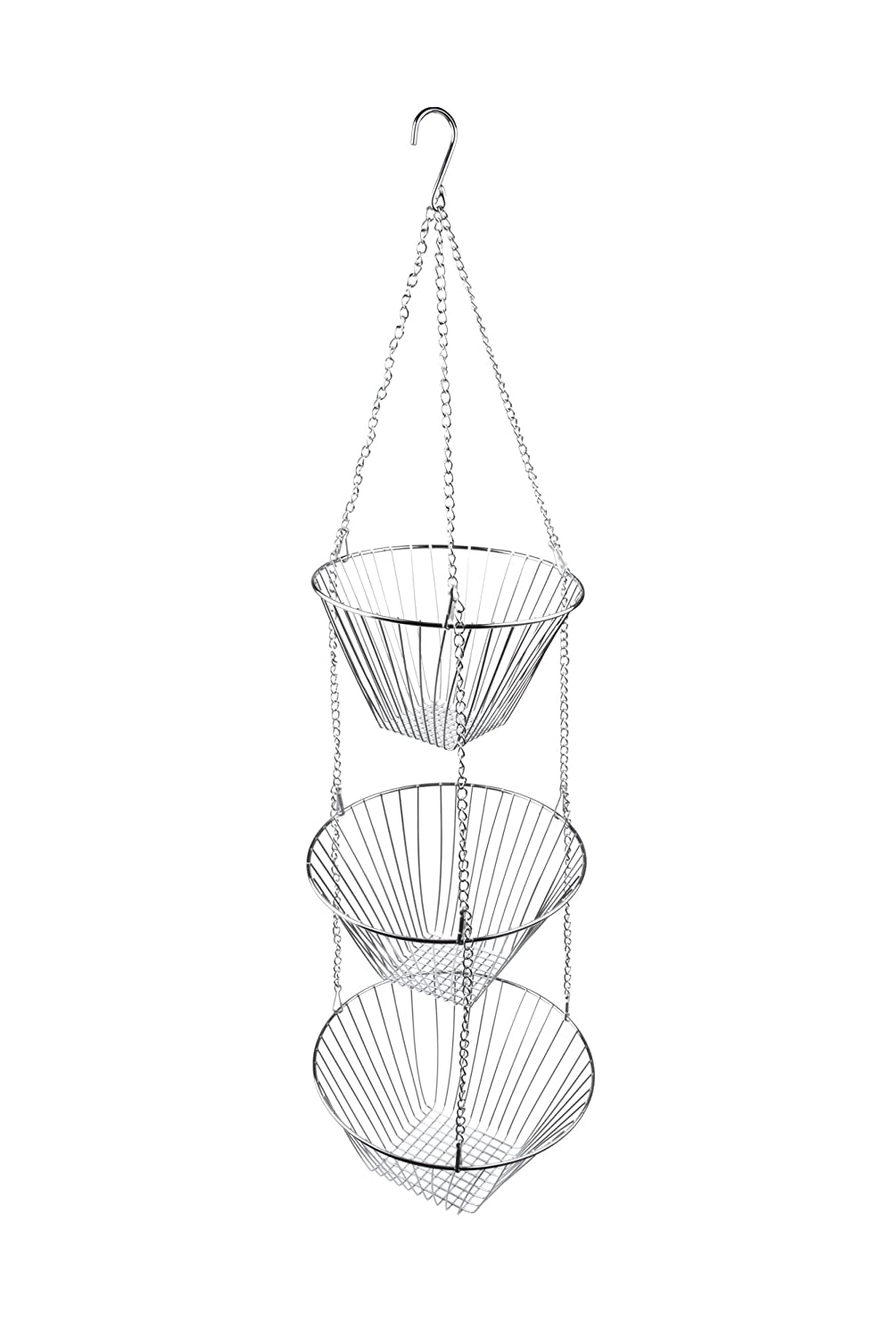 Fox Run 6312 Three Tier Hanging Wire Baskets, Chrome, One Size, Silver Fox Run Craftsmen 6312COM