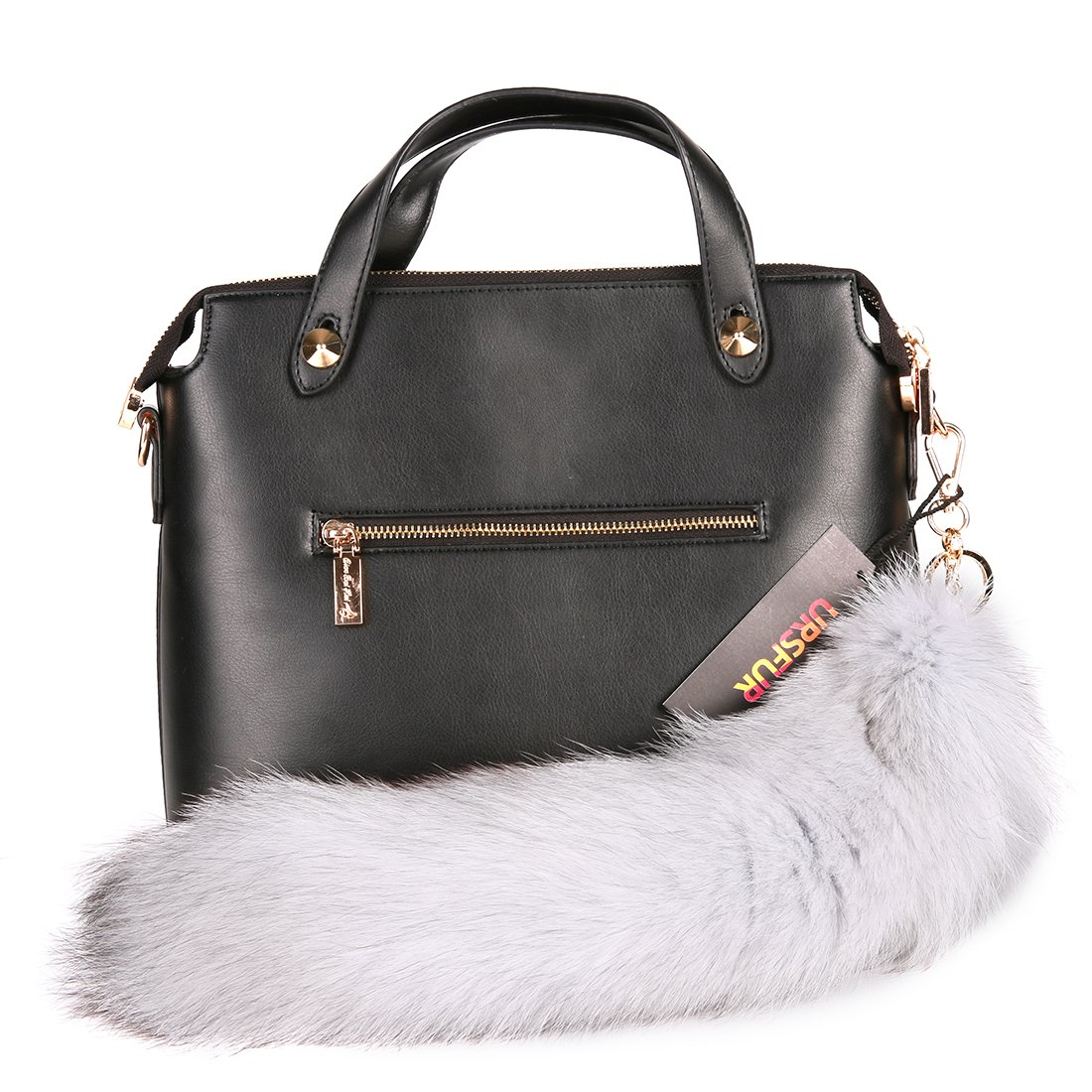 URSFUR Blue Fox Tail Fur Bag Charm Keychain Cosplay Toy Key Ring Pendant