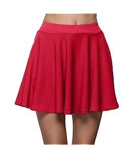 QinMM Falda Corta Plisado para Mujer, Falda Casual de Verano con Cintura Alta (Rojo, S)