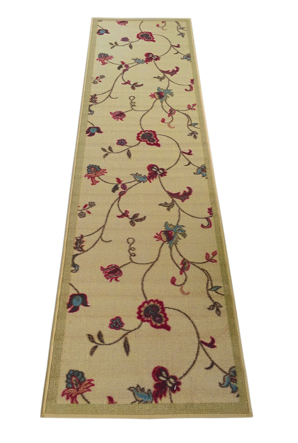 """Flowers Scroll Floral Printed Slip Resistant Rubber Back Latex Runner Rug Different Color Options (Beige, 23""""x7') - Made in Turkey 