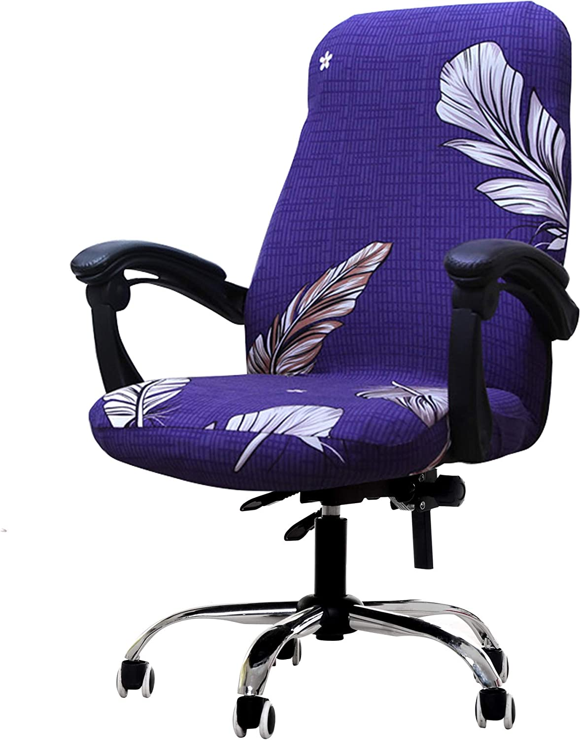 Deisy Dee Computer Office Chair Covers for Stretch Rotating Mid Back Chair Slipcovers Cover ONLY Chair Covers C162 (Feather)