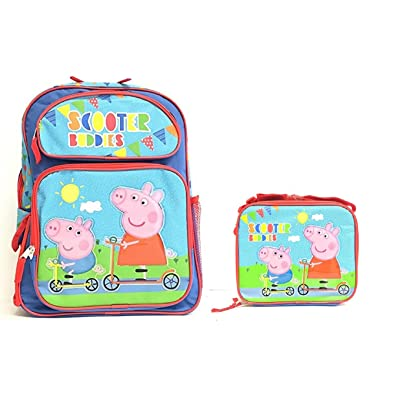 "Peppa Pig 16"" inches Large Backpack & Lunch box - Scooter Buddies 85%OFF"