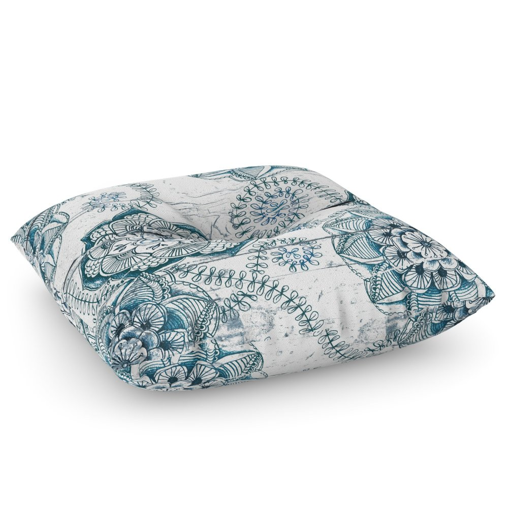 Society6 Navy Blue Floral Doodles On Wood Floor Pillow Square 26'' x 26''