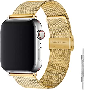 Stainless Steel Bracelet Metal Strap Compatible for Apple Watch Band 38mm 40mm 42mm 44mm, Mesh Adjustable Sport Loop with Double Buckle Replacement Band for Iwatch Series 5/4/3/2… (gold, 38/40mm)