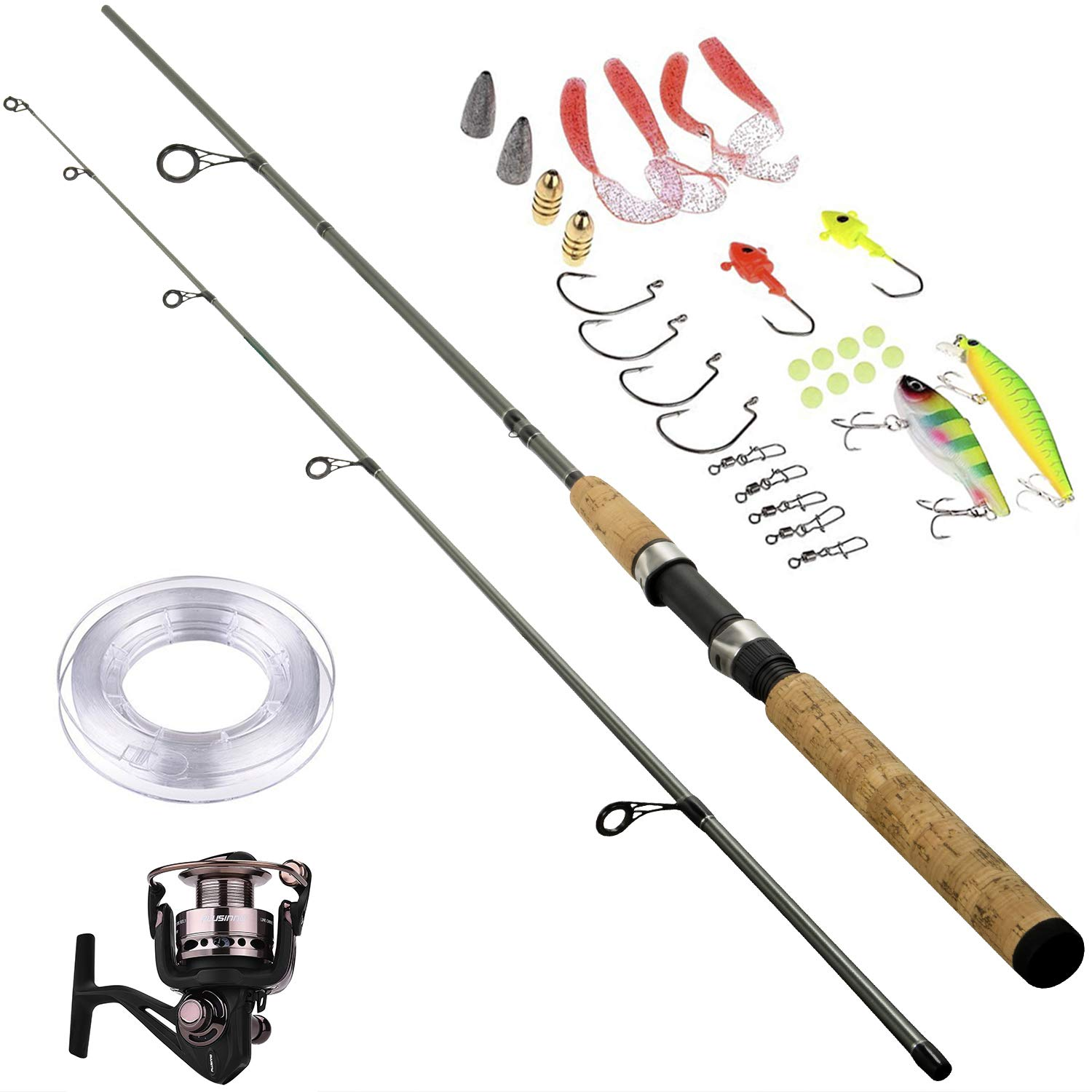 PLUSINNO Portable Two-Piece Spinning Rod Graphite Medium Fast Action 7' Spinning Fishing Rod and Reel Combo