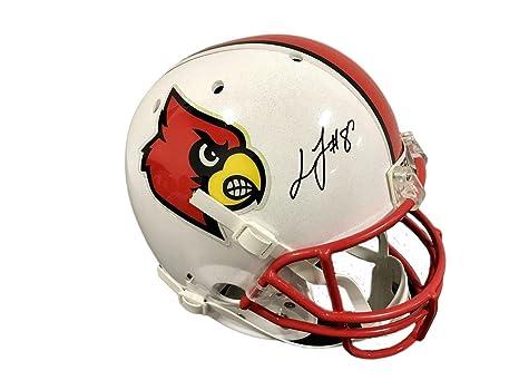0cf172abf Lamar Jackson Louisville Cardinals Signed Full Size Helmet - JSA Certified  - Autographed College Helmets