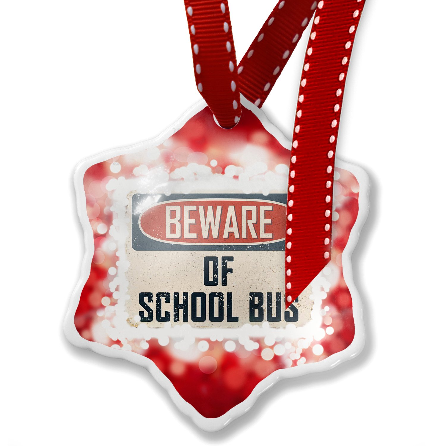 Christmas Ornament Beware Of School Bus Driver Vintage Funny Sign, red - Neonblond