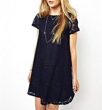 9b2fbcbded7 Image Unavailable. Image not available for. Color  Baqijian Women s Lace  Crochet Dress Ladies Short ...