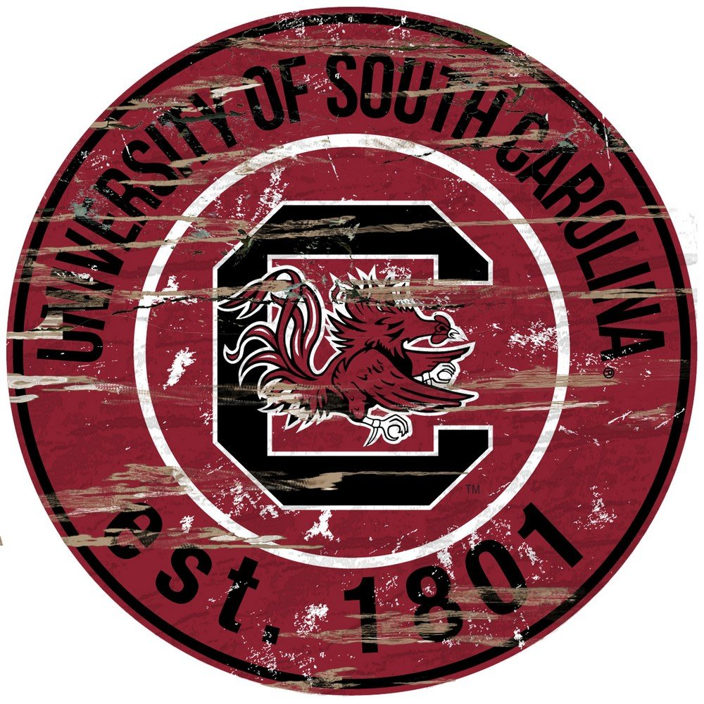 Fan Creations University of South Carolina Distressed Round Sign, Multi