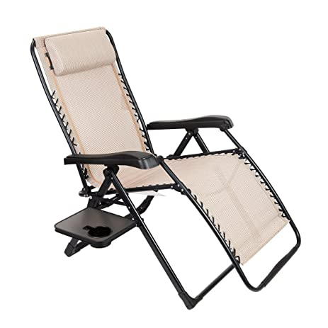 Timber Ridge Oversized XL Zero Gravity Adjustable Recliner Lounge Patio  Chair With Side Table Supports 350lbs