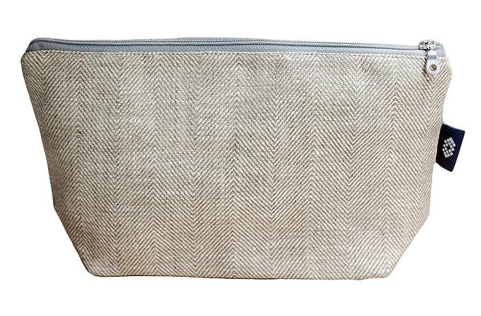 159fb974ae4d Amazon.com: Handmade Large Canvas Cosmetic Bag - White/Light Gray ...