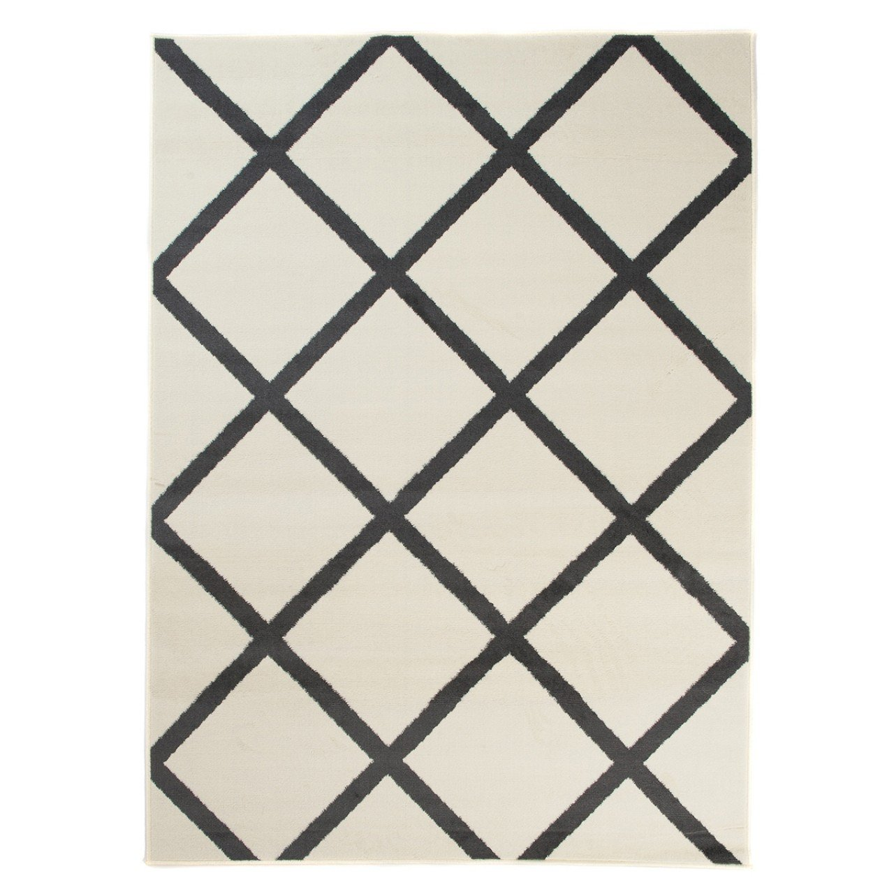 Carpeto Teppich Modern Weiß 200 x 300 cm Geometrische Muster Kurzflor Malmo Kollektion