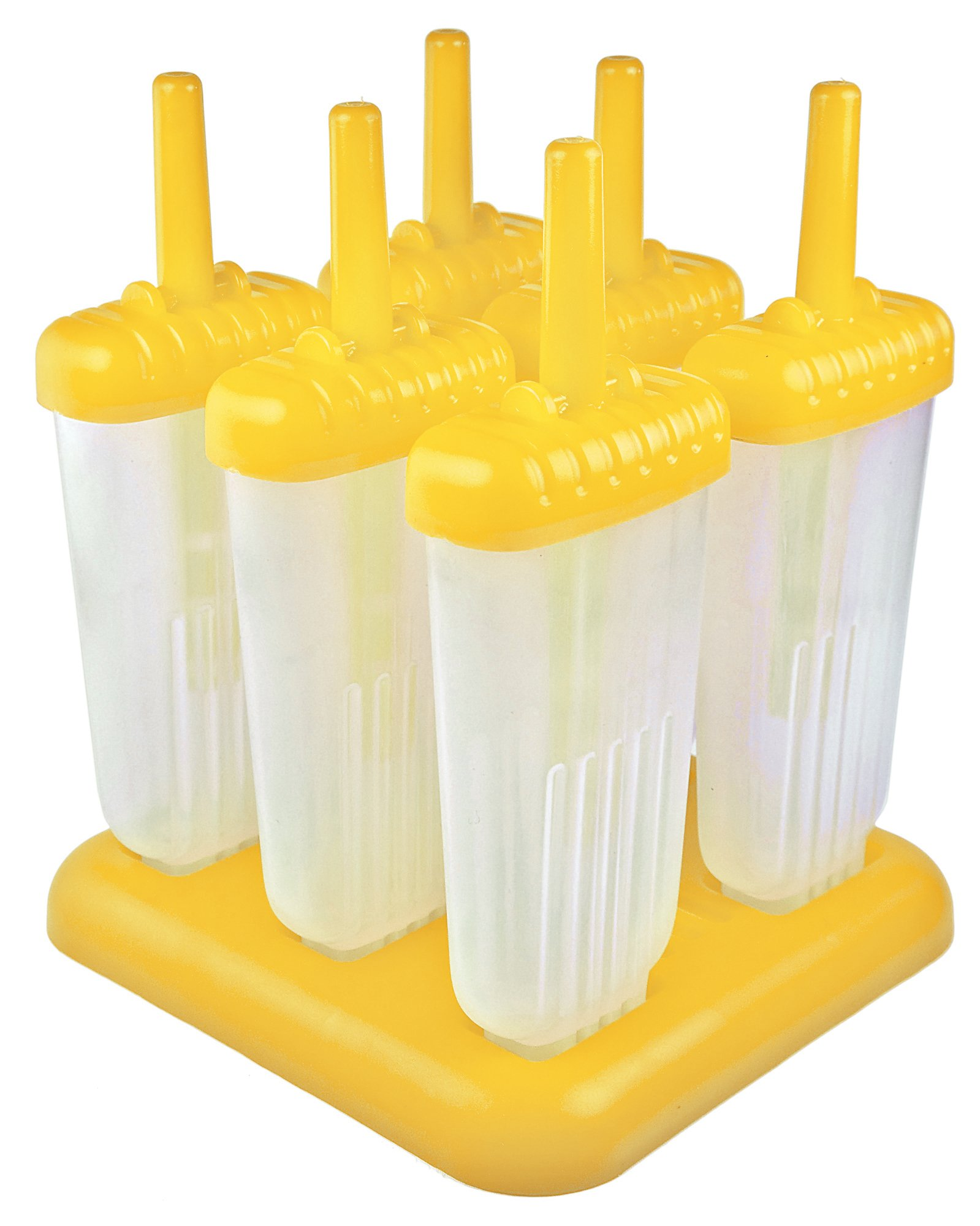Tovolo Groovy Pop Molds, Drip-Guard Handle, 4 Ounces, Yellow - Set of 6