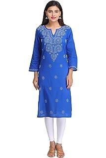 9c0dd138de ADA Lucknow Chikan Hand Embroidered Cotton Kurti Regular Wear A197442