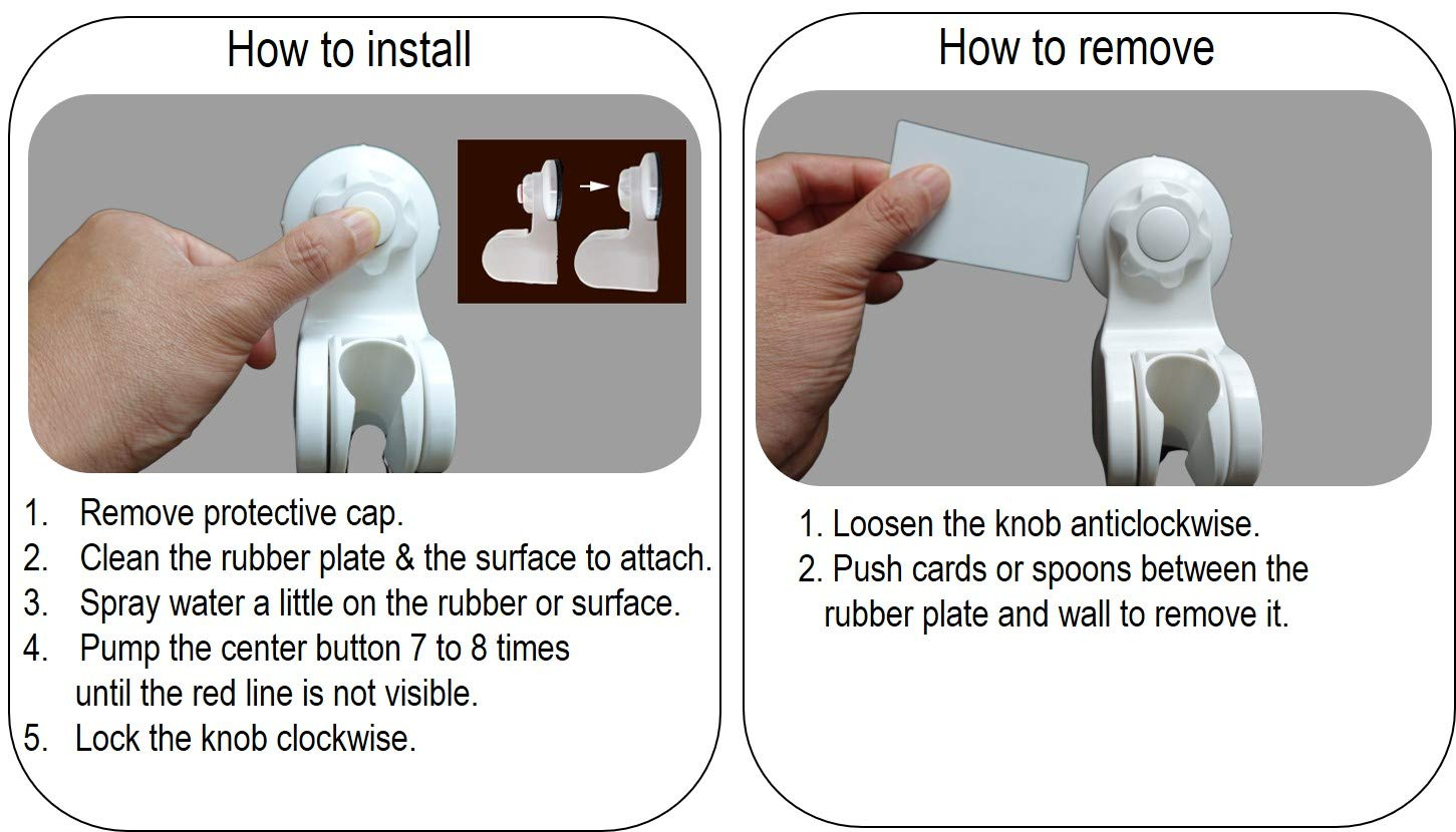 Pump/&Fix Heavy Duty Suction Cup Adjustable Shower Head Holder for Non-Porous Surface