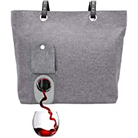PortoVino Wine Tote - Fashionable Wine Purse with Hidden, Insulated Compartment, Holds 2 Bottles Wine! Ash