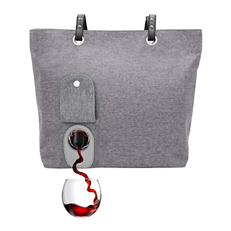 PortoVino City Wine Tote (Ash) - Fashionable Wine Purse with Hidden, Insulated Compartment, Holds 2 Bottles Wine!