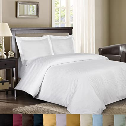 Royal Hotelu0027s Striped White 300 Thread Count 3pc King Duvet Cover 100
