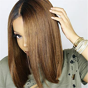 Amazon Com Tbwiga Brown Ombre Short Straight Synthetic Wigs With