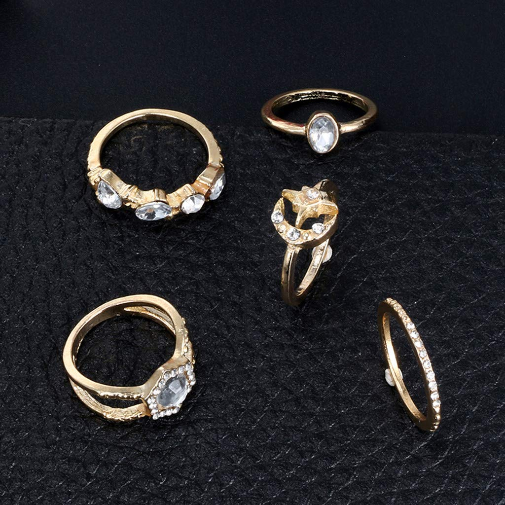Peigen 5 Pcs Vintage Knuckle Ring Mid Rings Set Stackable Rings Set Finger Rings for Women Girls Children Teenagers Decorations Gifts