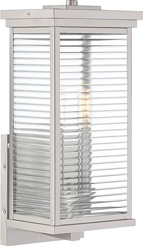 Quoizel GAR8408SS Gardner Outdoor Wall Lantern Wall Sconce Lighting Fixture, 2-Light, 120 Watts, Stainless Steel 17 H x 8 W