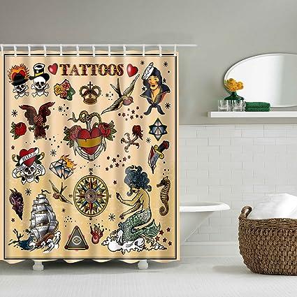 Yumian 3D Tattoo Shower Curtain Mermaid Sailboat Skull Print Waterproof Bathroom  Decor