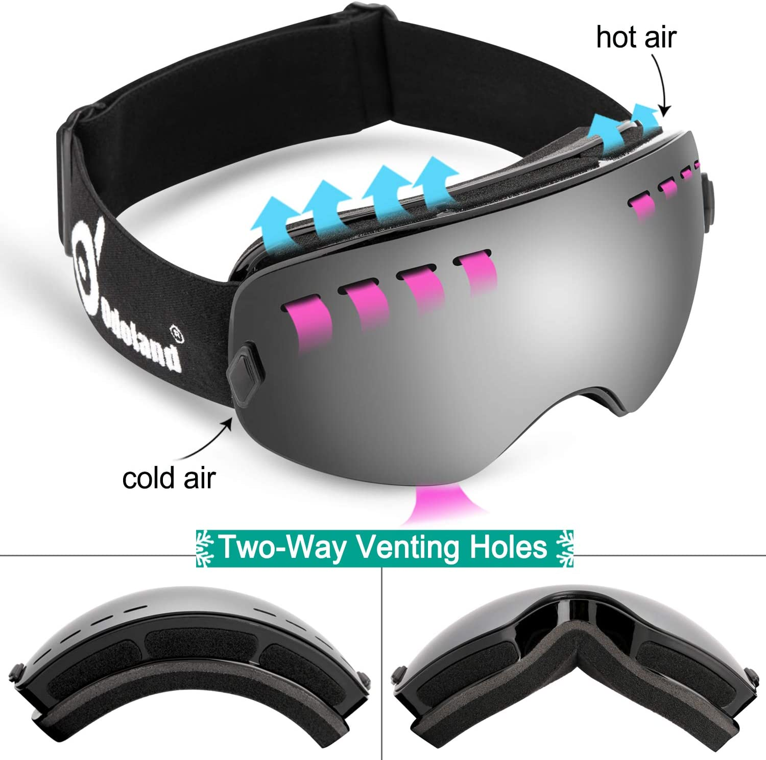 Odoland Snow Ski Goggles for Kids Youth, Anti-Fog and UV 400 Protection Snow Goggles Compatible for Ski Helmet, Winter Outdoor Sports Protective Glasses Multi-Color
