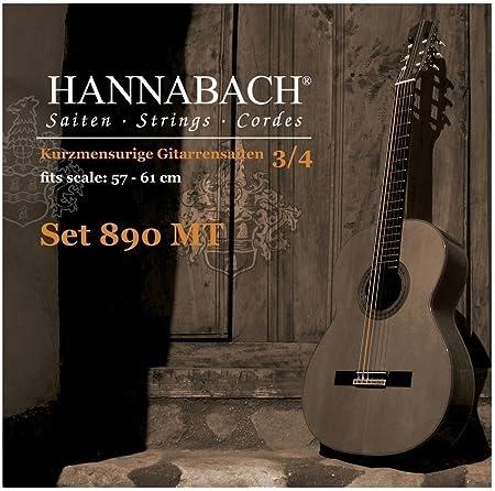 Hannabach cordes de guitare classique s/érie 890 1//4 guitare enfants Mensur 49-52cm Re4