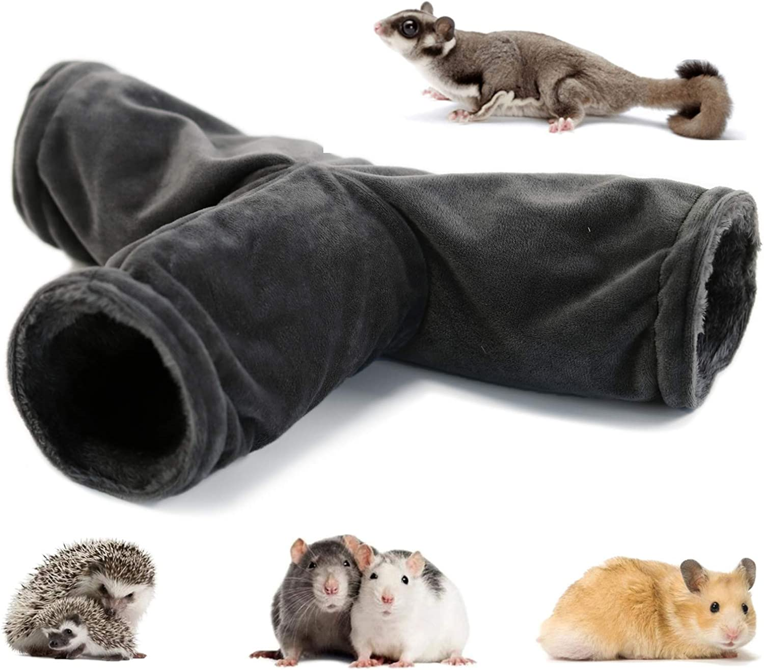 LeerKing Small Pet Play Tunnel Collapsible 3 Way Rats Toys Cage Accessories for Hamster Chinchillas Mice Rats