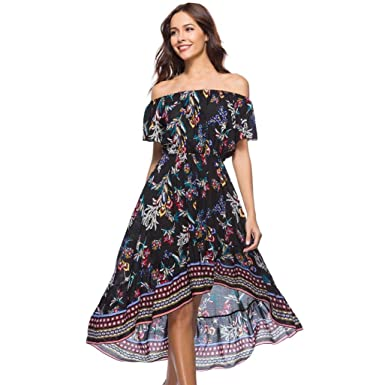 4a5c558c879 Anglewolf Women s Casual Short Sleeve Off The Shoulder Boho Print Short  Dress Ladies Summer Sexy Slash