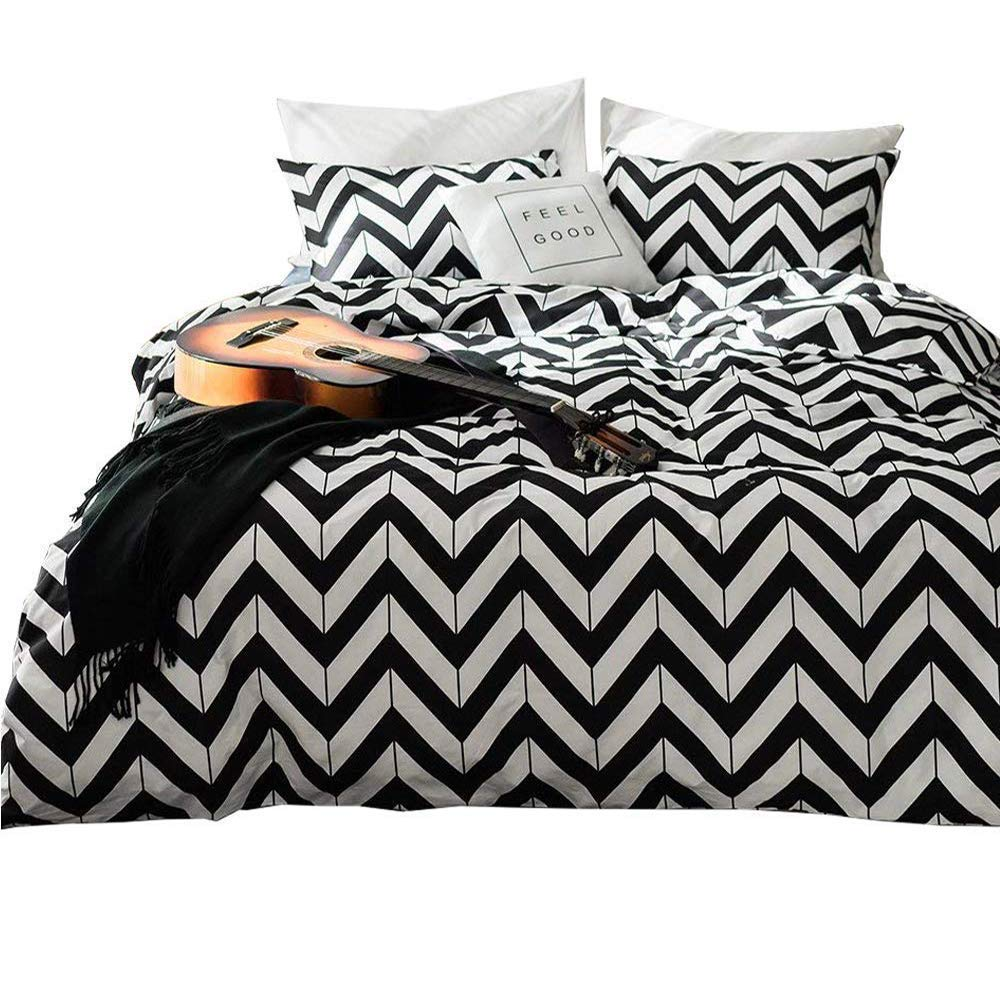 White Black Chevron Bedding Set Queen Cotton Geometric Striped Duvet Cover Set Full Hotel Luxury Men Boys Bed Comforter Cover Set 3 Piece Cotton Bedding Collection Full Queen Bed Set