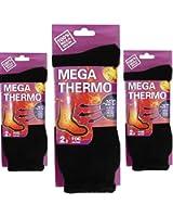 3 Pair Ladies Black Mega Thermo Thermal Insulated Boot Socks 100% Mega Brush