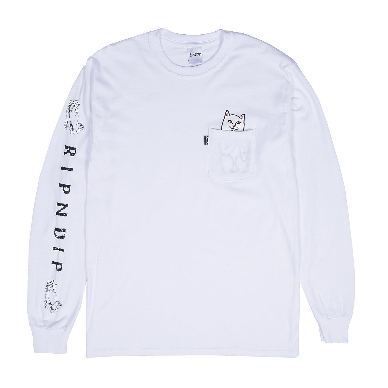 1393d2f19483 RIPNDIP Rip N Dip Lord Nermal Pocket Long Sleeve Shirt (White) | Amazon.com