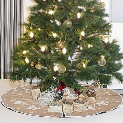 Amazoncom 48 Inch Burlap Christmas Tree Skirt White Snowflake