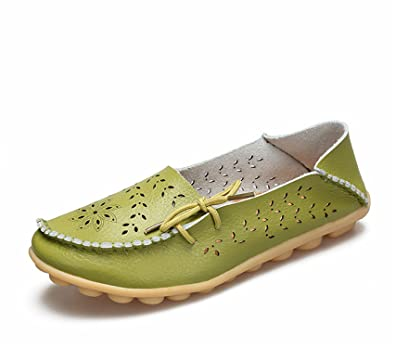 Surprising Day Women's Casual Shoes Genuine Leather Woman Loafers Slip-On Female Flats Moccasins Ladies Driving Shoe Cut-Outs Mother Footwear GrassGreen 13