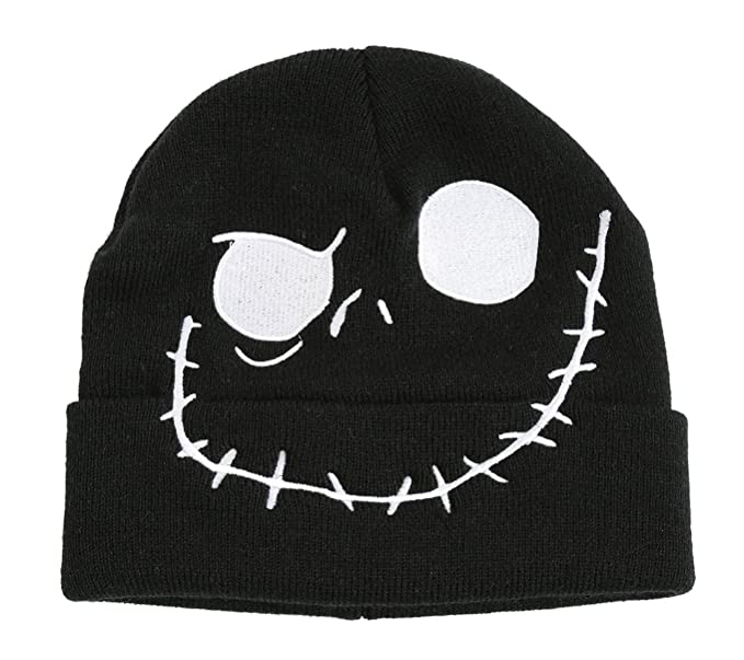 the nightmare before christmas jack skellington face embroidered black watchman beanie