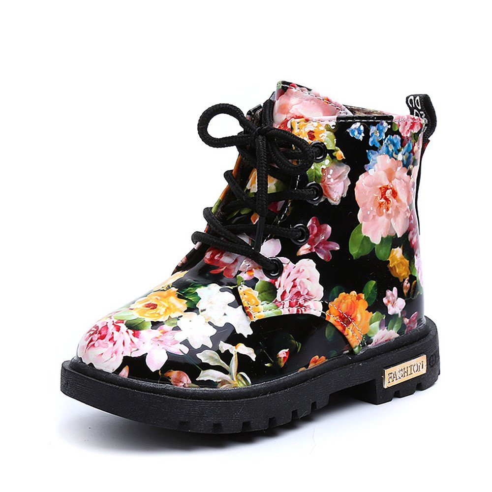 CYCTECH Girls Floral Shoes Baby Kids Martin Boots Fashion Casual Children Boots 9, Black