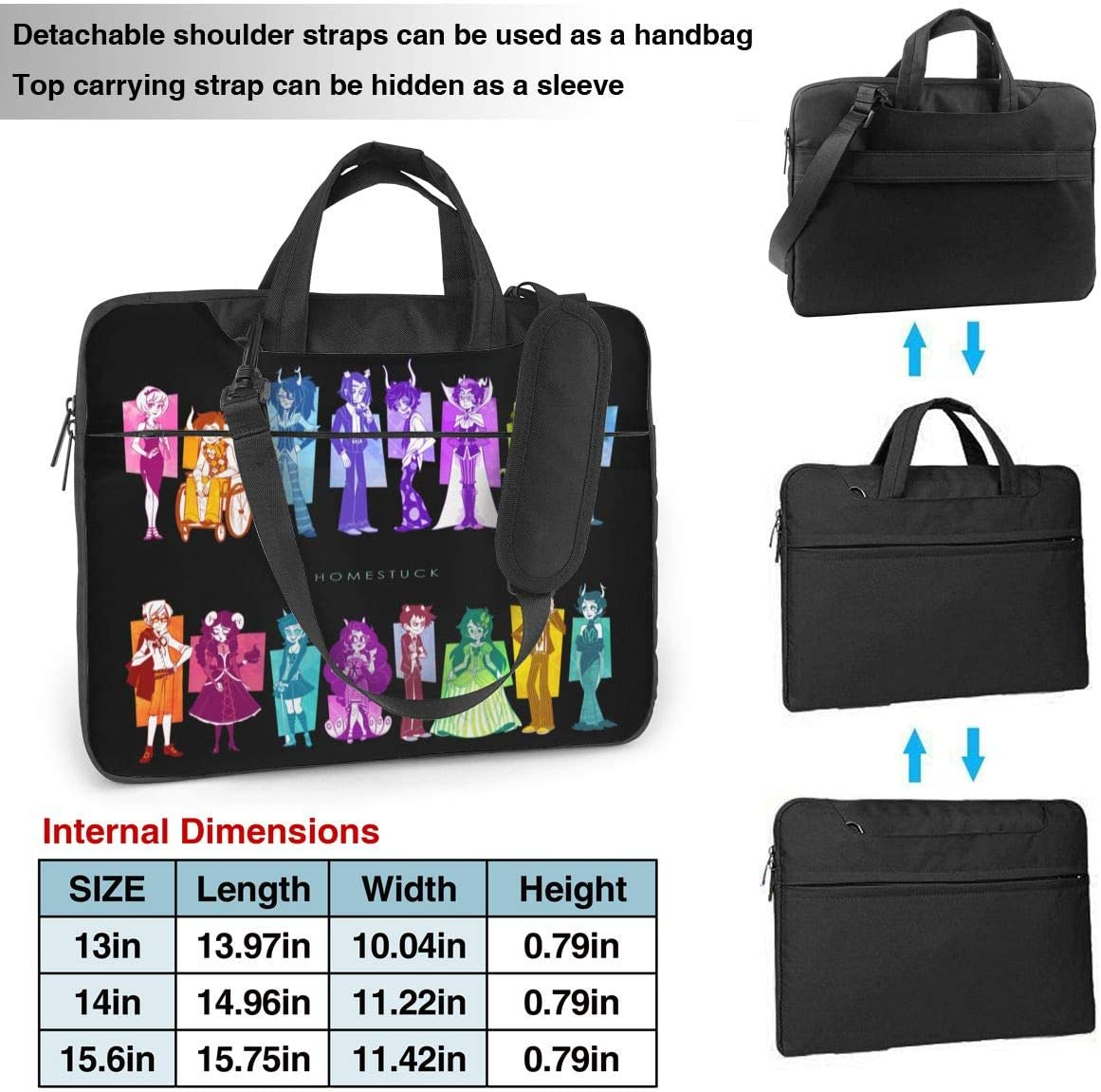 JuaoHuan Homestuck Laptop Shoulder Messenger Bag Case Briefcase Sleeve for 13 Inch 14 Inch 15.6 Inch Laptop Case 14 Inch