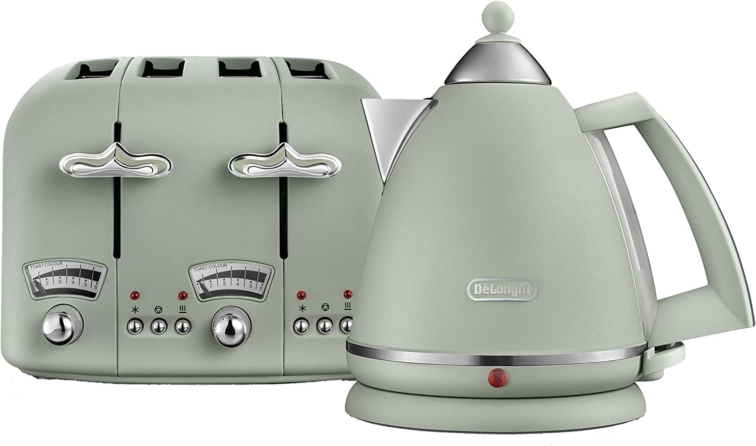 1800W Green and CTO4 4-Slice Toaster DeLonghi Argento Flora KBX3016 Kettle 3kW