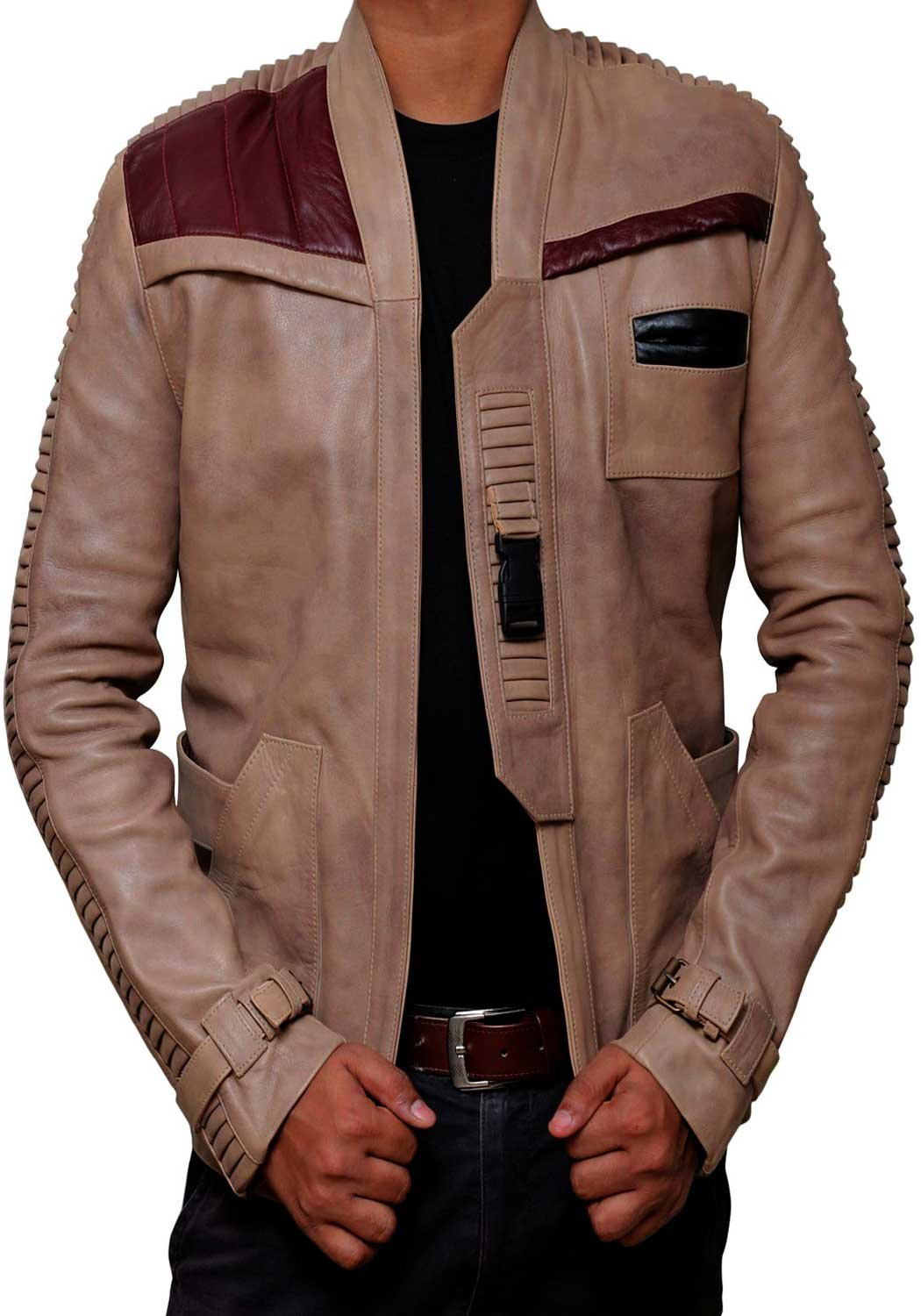 BlingSoul Poe Dameron Beige Biker Leather Jacket for Men - (M) [RL-Finn-BE-M] by BlingSoul