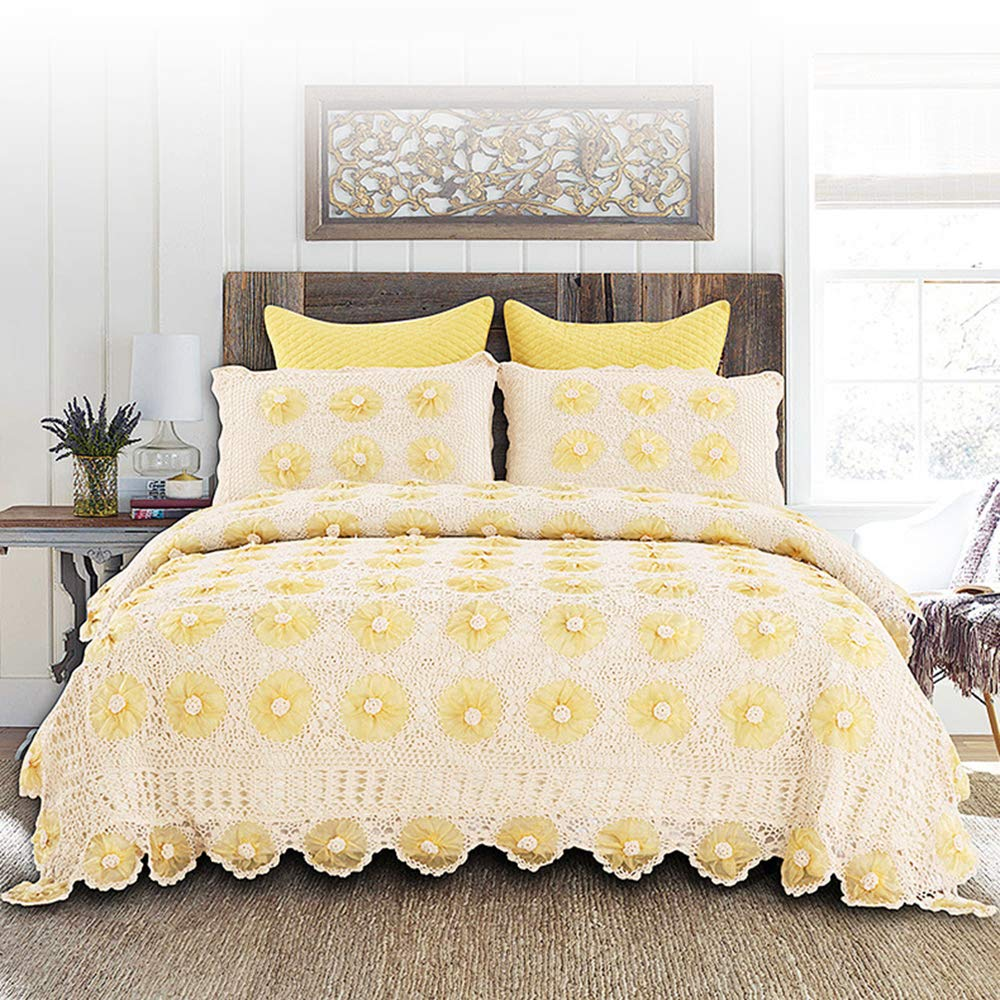 ベッドカバー 手作りかぎ針編み 260×230cm マルチ カバー キルト おしゃれ ダブル 枕カバー 寝具カバーセット 5点セット 四節適用 優しい肌触り-yt-c334 (イエロー) B07QXZPDPB イエロー