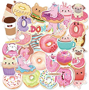30 Pcs Donut Perforated Roll Stickers for Kids Valentine Notebooks Stationery Stickers,Donut Laptop Stickers,Donut Skateboard Stickers,Donut PVC Waterproof Stickers