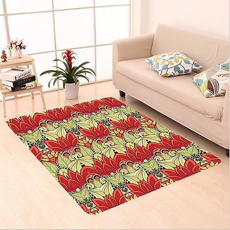 Nalahome Custom Carpet Decor Asian Batik Blooms Motif In Colors Ornate  Nature Inspired Boho Floral Boho