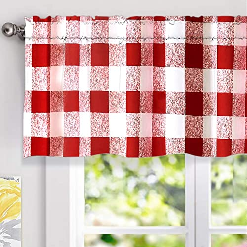 DriftAway Buffalo Checker Pattern Lined Blackout Thermal Insulated Energy Saving Rod Pocket Window Curtain Valance 52 Inch by 18 Inch Plus 2 Inch Header Red