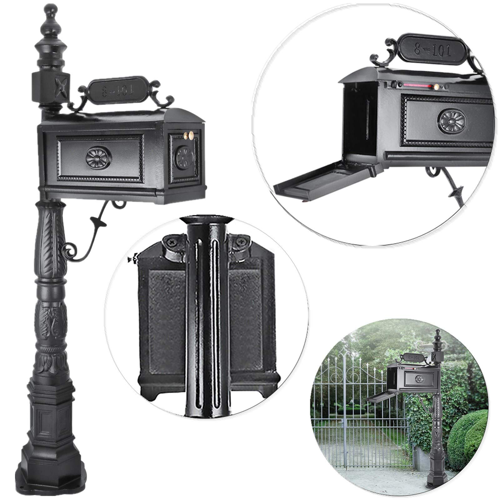 Happybuy Cast Aluminum Mailbox 64 x 10.5 inch with 18 x 8.5 inch Postbox Barcelona Decorative Post Mailbox Combination Stratford Heavy Duty Mailbox & Post System Black for Family Garden Outdoor by Happybuy (Image #1)